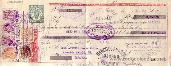 ELCHE (ALICANTE). 1943. LETRA DE CAMBIO DE FALANGE REINTEGRADA CON SEIS SELLOS FISCALES. MAGNÍFICA. (Sellos - España - Estado Español - De 1.936 a 1.949 - Cartas)