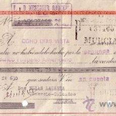 Sellos: MURCIA. 1942. LETRA DE CAMBIO DE FALANGE REINTEGRADA CON SELLOS FISCAL. MUY BONITA.. Lote 36056413