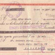 Sellos: CANET DE MAR (BARCELONA). 1943. LETRA DE CAMBIO DE FALANGE REINTEGRADA CON SELLO FISCAL. MAGNÍFICA.. Lote 36057829