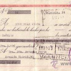 Sellos: VALENCIA. 1945. LETRA DE CAMBIO DE FALANGE REINTEGRADA CON SELLO FISCAL. MAGNÍFICA.. Lote 36057979