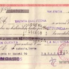 Sellos: VALENCIA. 1945. LETRA DE CAMBIO DE FALANGE REINTEGRADA CON SELLO FISCAL. MAGNÍFICA.. Lote 36058267