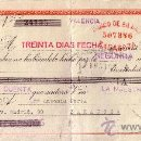 Sellos: VALENCIA. 1943. LETRA DE CAMBIO DE FALANGE REINTEGRADA CON SELLO FISCAL. MAGNÍFICA.. Lote 36058363
