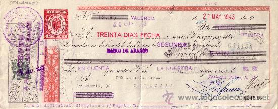 VALENCIA. 1943. LETRA DE CAMBIO DE FALANGE REINTEGRADA CON SELLO FISCAL. MAGNÍFICA. (Sellos - España - Estado Español - De 1.936 a 1.949 - Cartas)