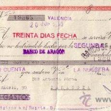 Sellos: VALENCIA. 1943. LETRA DE CAMBIO DE FALANGE REINTEGRADA CON SELLO FISCAL. MAGNÍFICA.. Lote 36058501