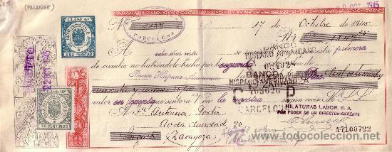 BARCELONA. 1945. LETRA DE CAMBIO DE FALANGE REINTEGRADA CON SELLO FISCAL. MAGNÍFICA. (Sellos - España - Estado Español - De 1.936 a 1.949 - Cartas)