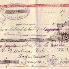 Sellos: BARCELONA. 1945. LETRA DE CAMBIO DE FALANGE REINTEGRADA CON SELLO FISCAL. MAGNÍFICA.. Lote 36070809