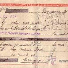 Sellos: BARCELONA. 1941. LETRA DE CAMBIO DE FALANGE REINTEGRADA CON DOS SELLOS FISCALES. MAGNÍFICA.. Lote 36071184