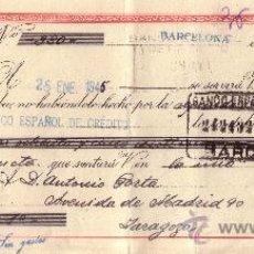 Sellos: BARCELONA. 1945. LETRA DE CAMBIO DE FALANGE REINTEGRADA CON SELLO FISCAL CON PERFORACIÓN COMERCIAL.. Lote 36086046