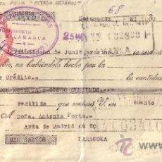 Sellos: SALAMANCA. 1942. LETRA DE CAMBIO CON SOBRECARGA ROJA ESTADO ESPAÑOL. REINTEGRADA CON FISCAL. RARA.. Lote 36086478