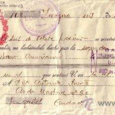 Sellos: ZARAGOZA. 1941. LETRA DE CAMBIO CON SOBRECARGA ROJA ESTADO ESPAÑOL. REINTEGRADA CON SELLO FISCAL.. Lote 36087248