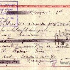 Sellos: ZARAGOZA. 1946. LETRA DE CAMBIO DE FALANGE REINTEGRADA CON SELLO FISCAL. MAGNÍFICA.. Lote 36128866
