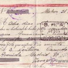 Sellos: MAHÓN (BALEARES). 1941. LETRA DE CAMBIO DE FALANGE REINTEGRADA CON SELLO FISCAL. BONITA.. Lote 36129117