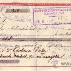 Sellos: BARACALDO (VIZCAYA). 1943. LETRA DE CAMBIO DE FALANGE REINTEGRADA CON SELLO FISCAL. MAGNÍFICA.. Lote 36129663