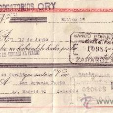Sellos: BILBAO. 1945. LETRA DE CAMBIO DE FALANGE REINTEGRADA CON SELLO FISCAL. MAGNÍFICA.. Lote 36129889