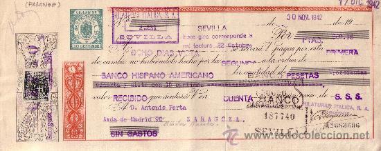 SEVILLA. 1942. LETRA DE CAMBIO DE FALANGE REINTEGRADA CON SELLO FISCAL. MAGNÍFICA. (Sellos - España - Estado Español - De 1.936 a 1.949 - Cartas)