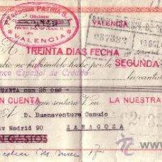 Sellos: VALENCIA. 1941. LETRA DE CAMBIO DE FALANGE REINTEGRADA CON SELLO FISCAL. MAGNÍFICA.. Lote 36141899