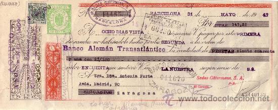 BARCELONA. 1943. LETRA DE CAMBIO DE FALANGE REINTEGRADA CON SELLO FISCAL. MAGNÍFICA. (Sellos - España - Estado Español - De 1.936 a 1.949 - Cartas)