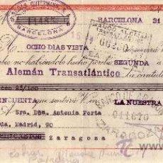 Sellos: BARCELONA. 1943. LETRA DE CAMBIO DE FALANGE REINTEGRADA CON SELLO FISCAL. MAGNÍFICA.. Lote 36143094