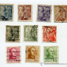 Sellos: 10 SELLOS FRANCISCO FRANCO DISTINTOS VALORES. Lote 36262052
