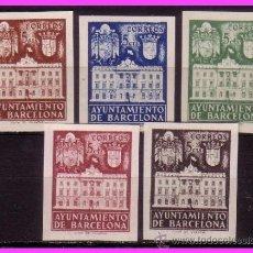 Sellos: BARCELONA 1942 FACHADA DEL AYUNTAMIENTO, EDIFIL Nº 33S A 37S (*). Lote 36767227