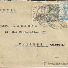 Sellos: FIGUERAS GERONA CC A FRANCIA AL DORSO MARCA CENSURA BARCELONA Y MAT LLEGADA. Lote 36770933