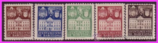 BARCELONA 1942 FACHADA DEL AYUNTAMIENTO, EDIFIL Nº 33 A 37 * * (Sellos - España - Estado Español - De 1.936 a 1.949 - Nuevos)
