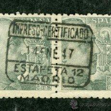 Sellos: PAREJA SELLOS FRANCO MATASELLO CERTIFICADO ESTAFETA MADRID (VER SELLOS GUERRA CIVIL). Lote 37117443
