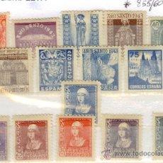 Sellos: SELLOS NUEVOS PRIMER CENTENARIO ESPAÑA - 1938 ISABEL LA CATÓLICA- 1943 AÑO SANTO COMPOSTELANO 855-60. Lote 37574592