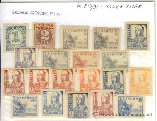 SELLOS NUEVOS PRIMER CENTENARIO ESPAÑA - 1937-1940 CIFRAS CID ISABEL LA CATÓLICA 814-831 (Sellos - España - Estado Español - De 1.936 a 1.949 - Nuevos)