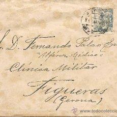 Sellos: ALFEREZ MEDICO - CLINICA MILITAR FIGUERAS GERONA 1947 SOBRE Y CARTA ANTIGUA. Lote 37620160