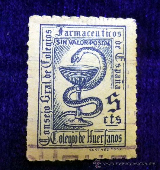 SELLO DE 5 CÉNTIMOS. COLEGIO DE HUÉRFANOS. FARMACEUTICOS (Sellos - España - Estado Español - De 1.936 a 1.949 - Usados)