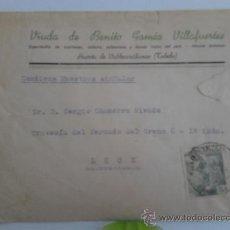 Sellos: CARTA CON PUBLICIDAD, TOLEDO SELLO DE VENTA DE BAÑOS Y DETRAS DE TOLEDO DE LA MARCA. Lote 38259581
