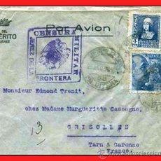 """Sellos: 1938.- CARTA C. AEREO DELA EMPRESA """"MERITO"""" JEREZ DE LA FRONTER A GRISOLLES. CENSURA MILITAR. LILA. Lote 38301806"""
