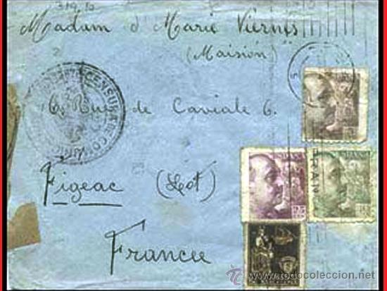 1940.-CARTA TRICOLOR DE BARCELONA A FIGEAC, CON CENSURA DE COMUNICACIONES, ETIQUETA Y MARCA CIRCULAR (Sellos - España - Estado Español - De 1.936 a 1.949 - Cartas)