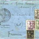 Sellos: 1940.-CARTA TRICOLOR DE BARCELONA A FIGEAC, CON CENSURA DE COMUNICACIONES, ETIQUETA Y MARCA CIRCULAR. Lote 38301913