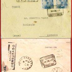 Sellos: 1941.- CERTIFICADO DE BARCELONA A NARBONNE, CON TRÁNSITO DE CARCASSONNE Y FECHADOR DE LLEGADA.. Lote 38302125
