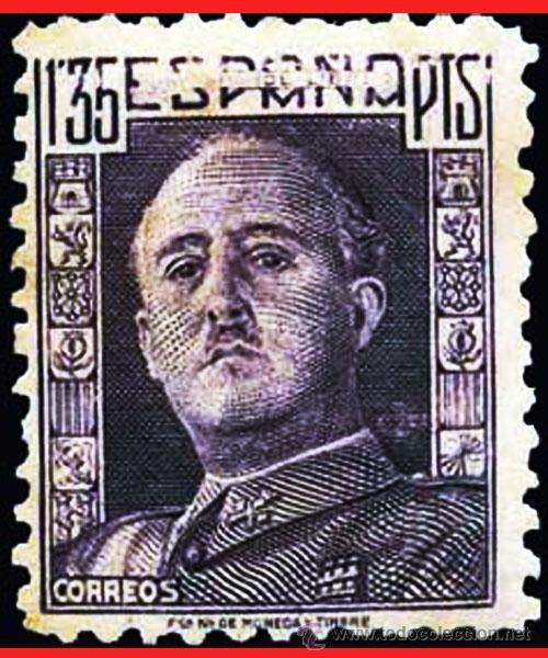 """1946.- VARIEDAD EN EL 1,35 PTS. DE FALTA DE IMPRESIÓN """"UNA GRANDE Y LIBRE"""" EN LA CABECERA DE ESPAÑA. (Sellos - España - Estado Español - De 1.936 a 1.949 - Nuevos)"""