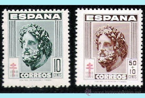 """1948.- PAR DE SELLOS 10 Y 50 CTS. CON LA VARIEDAD DE """"CRUZ DE LORENA"""" DESPLAZADA HACIA ABAJO. LUJO. (Sellos - España - Estado Español - De 1.936 a 1.949 - Nuevos)"""