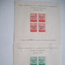 Sellos: HOJITAS DEL AYUNTAMIENTO DE BARCELONA NAVIDAD AÑO 1942 ED 40/41 TIRADA 10.000. Lote 38419545