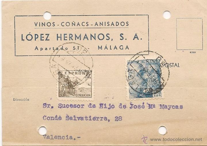 VINOS COÑACS ANISADOS 1948 MALAGA - ENTERO POSTAL LOPEZ HERMANOS (Sellos - España - Estado Español - De 1.936 a 1.949 - Cartas)