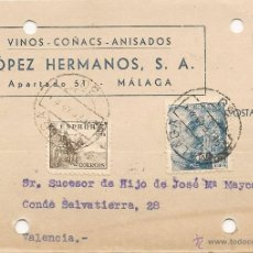 Sellos: VINOS COÑACS ANISADOS 1948 MALAGA - ENTERO POSTAL LOPEZ HERMANOS. Lote 39586857
