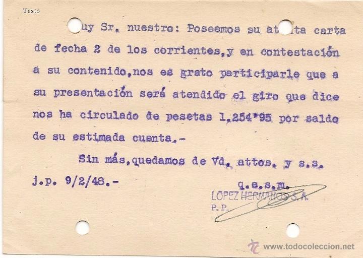 Sellos: VINOS COÑACS ANISADOS 1948 MALAGA - ENTERO POSTAL LOPEZ HERMANOS - Foto 2 - 39586857