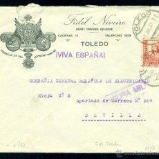 Sellos: *** PRECIOSA CARTA ILUSTRADA 1937 AGENTE COMERCIAL. TOLEDO A SEVILLA. CENSURA MILITAR TOLEDO ***. Lote 39737131