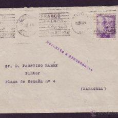 Sellos: ESPAÑA. (CAT. 922). 1944. SOBRE CORREO INTERIOR DE ZARAGOZA. MARCA * DEVUELTO A PROCEDENCIA *. RARA.. Lote 24565167