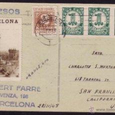 Sellos: ESPAÑA. (CAT. 814, 815). 1948. T. P. DE BARCELONA A USA. FRANQUEO CON VIÑETA. MAGNÍFICA Y MUY RARA.. Lote 36901583