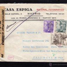 Sellos: CARTA CASA ESPIGA A FRANKFURT 1940, CENSURA DIRECCION GENERAL DE SEGURIDAD MADRID, CS. ALEMANIA . Lote 40273017