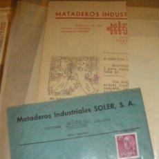 Sellos: MATADEROS INDUSTRIALES SOLER, MISSA PROLONGO. CARTAMA MALAGA. SOBRE Y RECORTE.. Lote 40527482