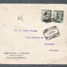 Sellos: SOBRE CIRCULADO. 2 DE OCTUBRE DE 1944. CERTIFICADO SANTIAGO DE COMPOSTELA.. Lote 40618800