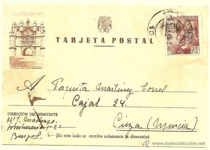 TARJETA POSTAL CIRCULADA BURGOS ARCO DE SANTAMARIA - AÑO 1946 - DE MADRID A CIEZA (MURCIA) (Sellos - España - Estado Español - De 1.936 a 1.949 - Cartas)
