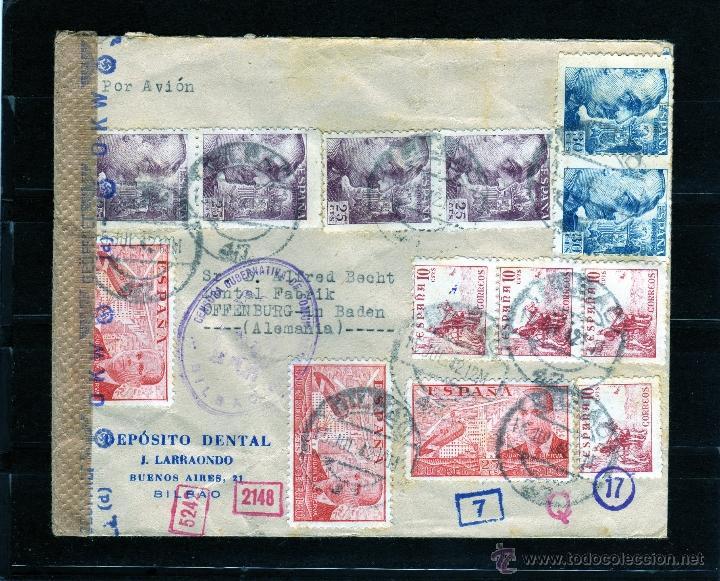 CARTA COMERCIAL DE BILBAO A ALEMANIA POR AVION 1942, CENSURA GUBERNATIVA DE COMUNICACIONES Y ALEMANA (Sellos - España - Estado Español - De 1.936 a 1.949 - Cartas)